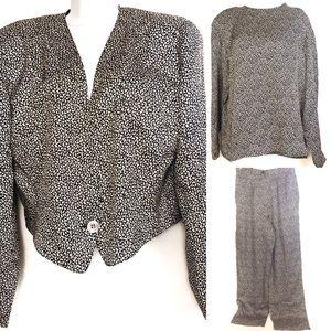 Anne Klein II Vintage Three Piece Silk Pants Suit